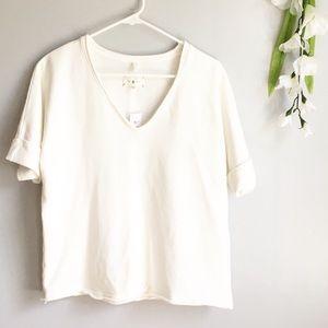 Lou & Grey V Neck Pullover Sweatshirt Short Sleeve